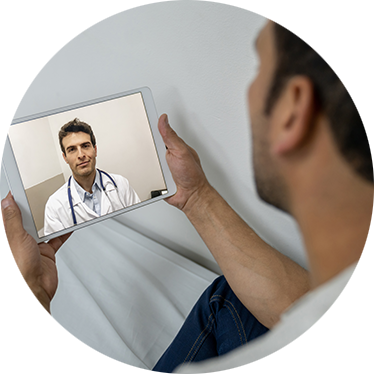 man on a telemedicine appointment with his doctor